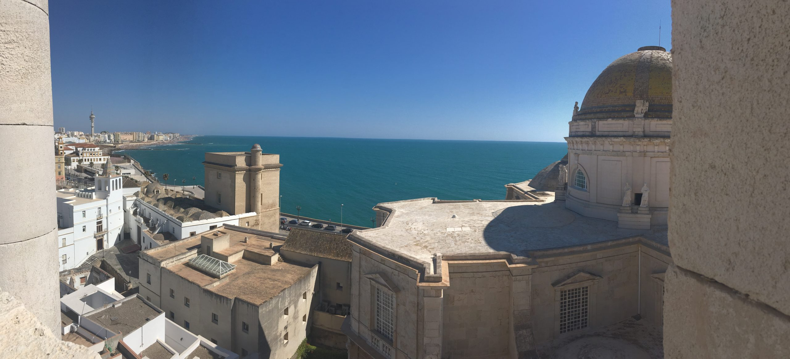 View of the Atlantic Ocean from the top of the cathedral in Cádiz
